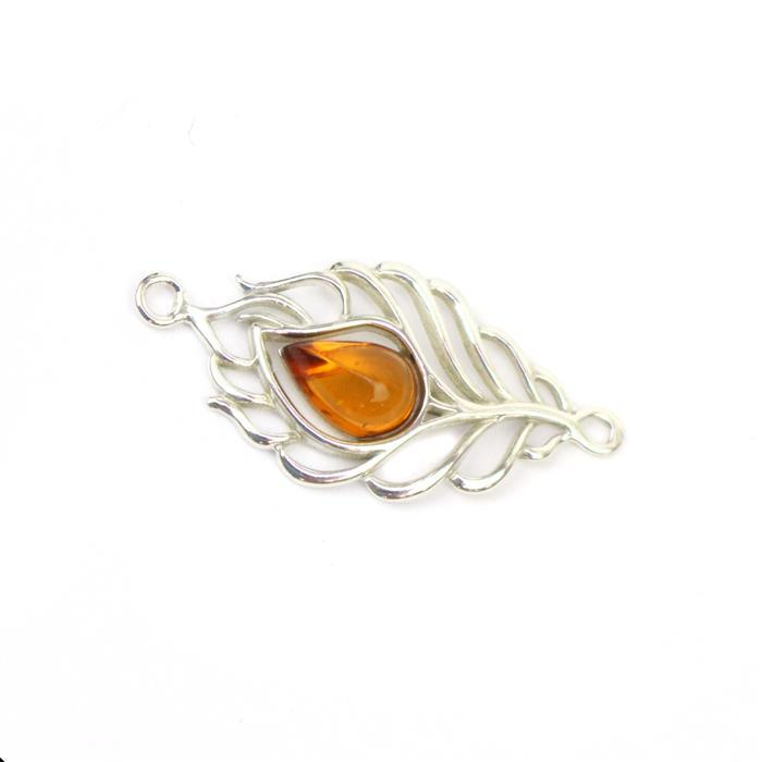 Baltic Cognac Amber Feather Connector Approx 15x30mm Sterling Silver