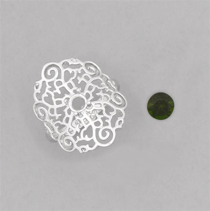 Size 7 925 Sterling Silver Medieval Ring Mounts Fits 4.25mm Round Inc. 0.30cts Chrome Diopside 4.25mm Round