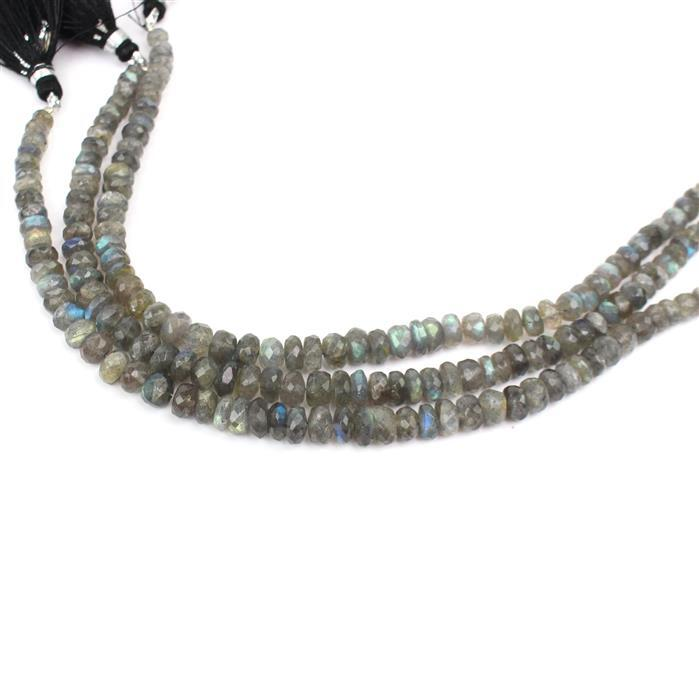 3 For 2! 3x 60cts Labradorite Graduated Faceted Rondelles Approx 3x1 to 7x4mm, 18cm Strand