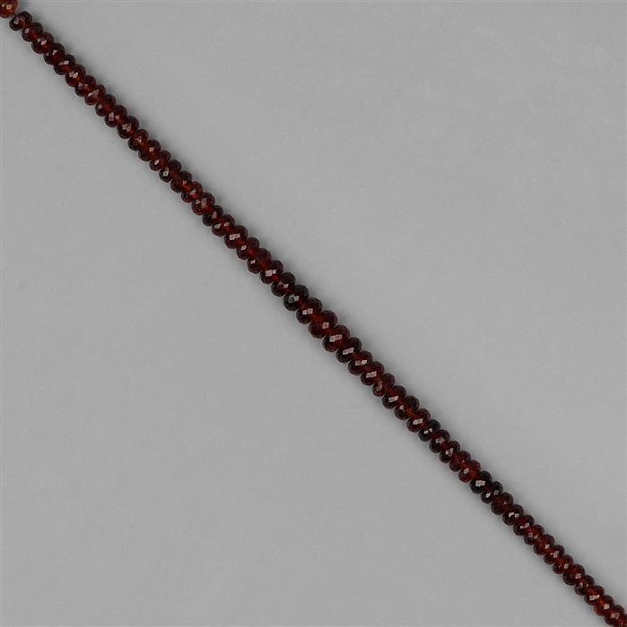 86cts Hessonite Garnet Graduated Faceted Rondelles Approx 4x2 to 8x4mm, 20cm Strand.