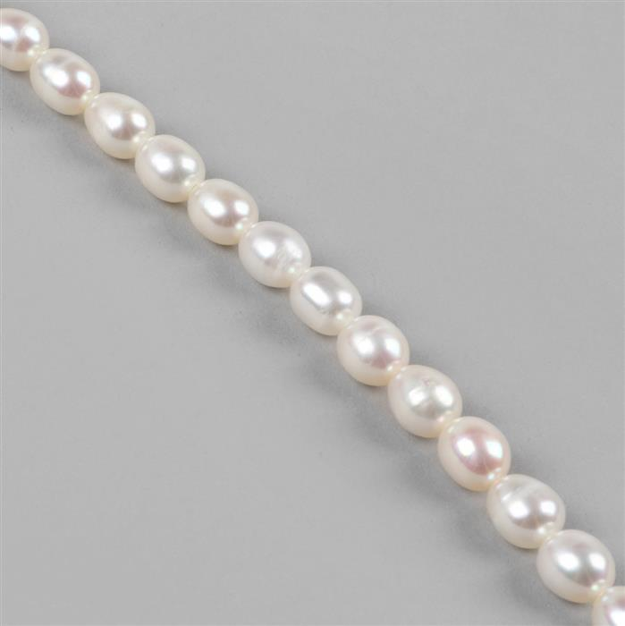 White Freshwater Cultured Pearls Drop Approx 7x6mm