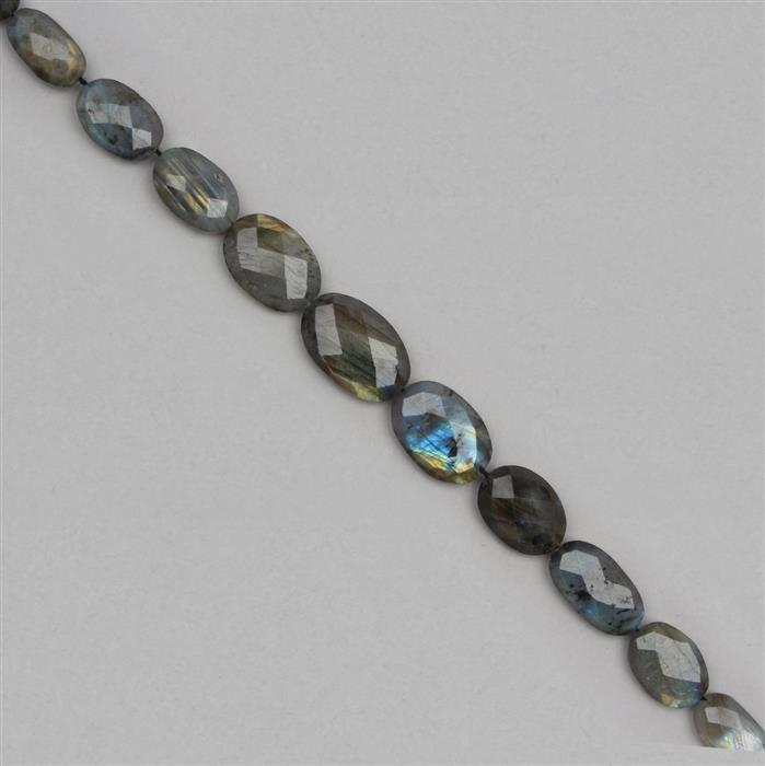 150cts Labradorite Graduated Faceted Ovals Approx 12x10 to 21x14mm, 20cm Strand.