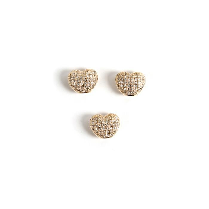 Gold Plated Base Metal CZ Heart Beads, 10x9mm (3pk)