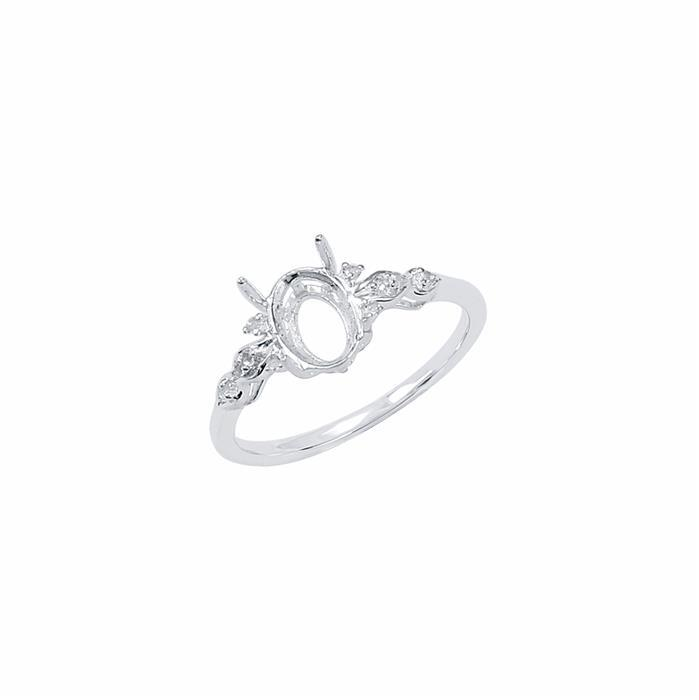 Size 7- 925 Sterling Silver Ring Oval Mount Fits 8x6mm Inc. 0.05cts White Topaz Brilliant Cut Rounds 1mm.