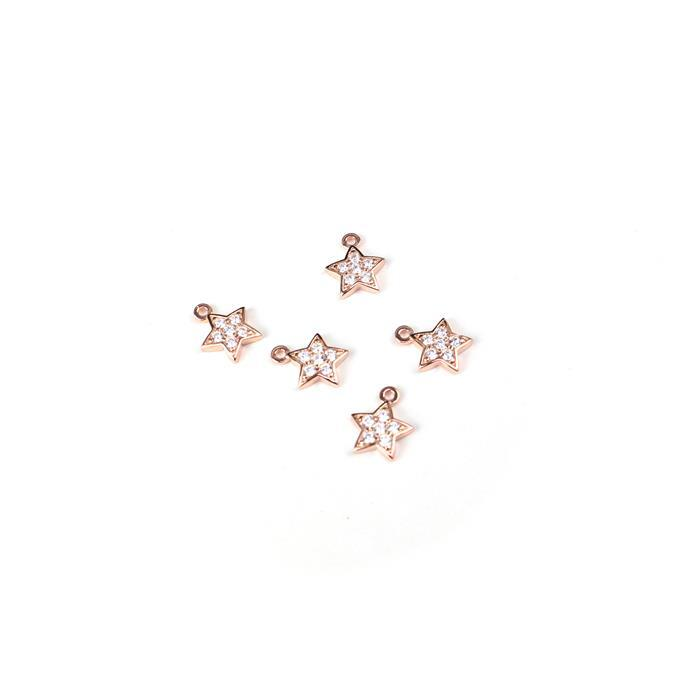 Follow The Star Rose Gold Plated 925 Sterling Silver Charms & Cubic Zirconia Approx 8x9mm 5pcs