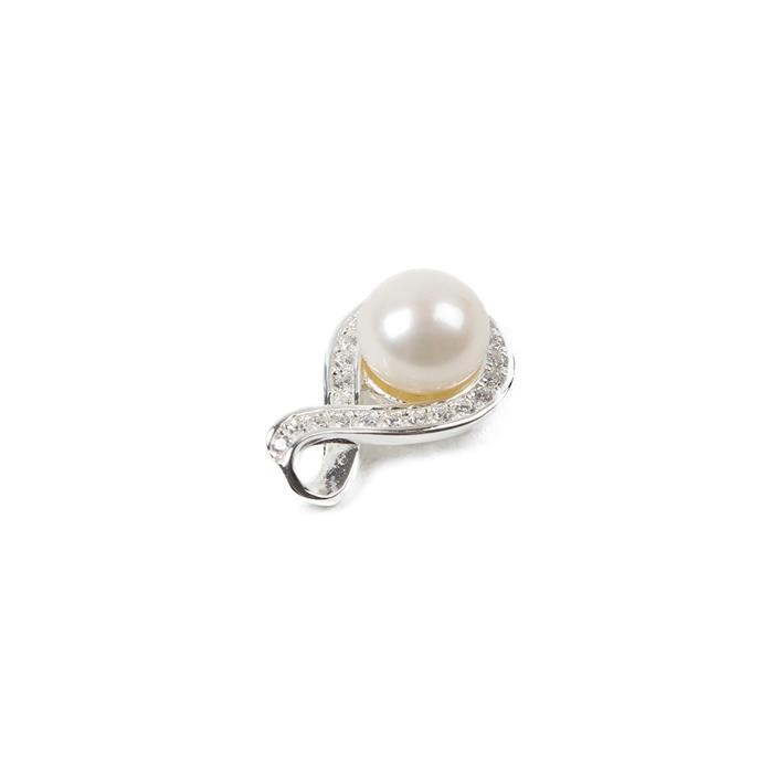925 Sterling Silver Freshwater Cultured Pearl Swirl Pendant, Approx 15mm, 1pcs