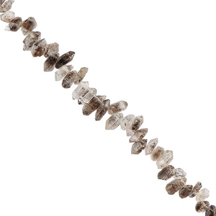 40cts Herkimer Quartz Graduated Rough Corner Drilled Nuggets Approx 5x3 to 8x3mm, 18cm Strand.