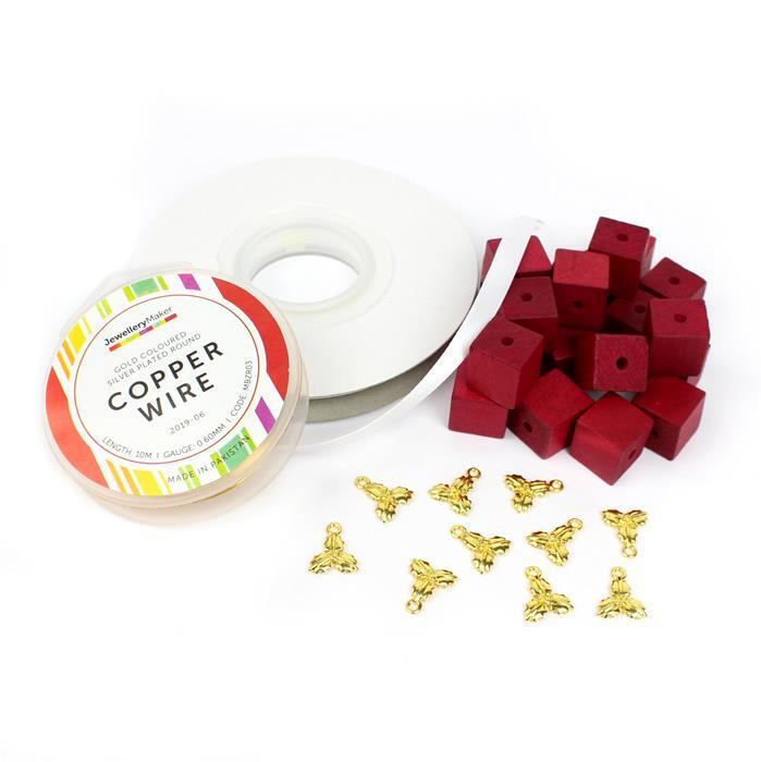 Presents: Red Wooden Cube Beads, Gold S/Plt 0.6mm wire, White Ribbon & Gold Holly Charms