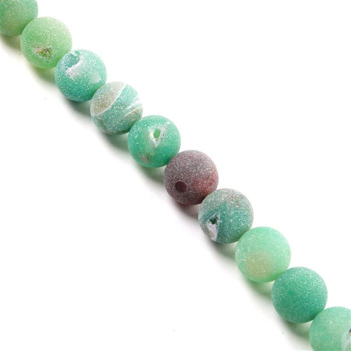 510cts Green Agate Frosted Rounds with Druzy Hole Approx 14mm, Approx 38cm/strand