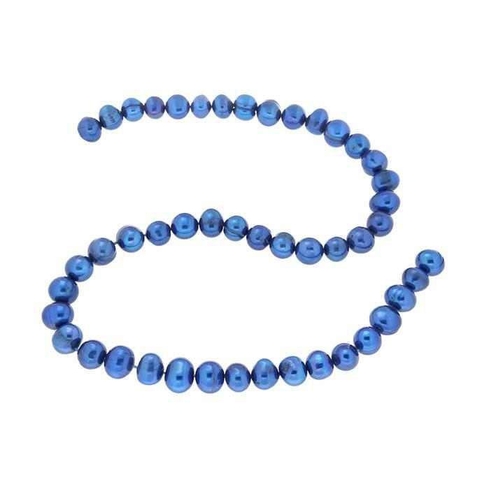 Blue Freshwater Cultured Potato Pearls  Approx 8x9mm 36cm