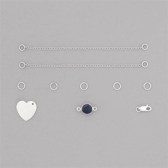 Birthstone Kit: 925 Sterling Silver Bracelet Kit Inc. 2.59cts Blue Sapphire Brilliant Round Approx 8mm (10pcs)