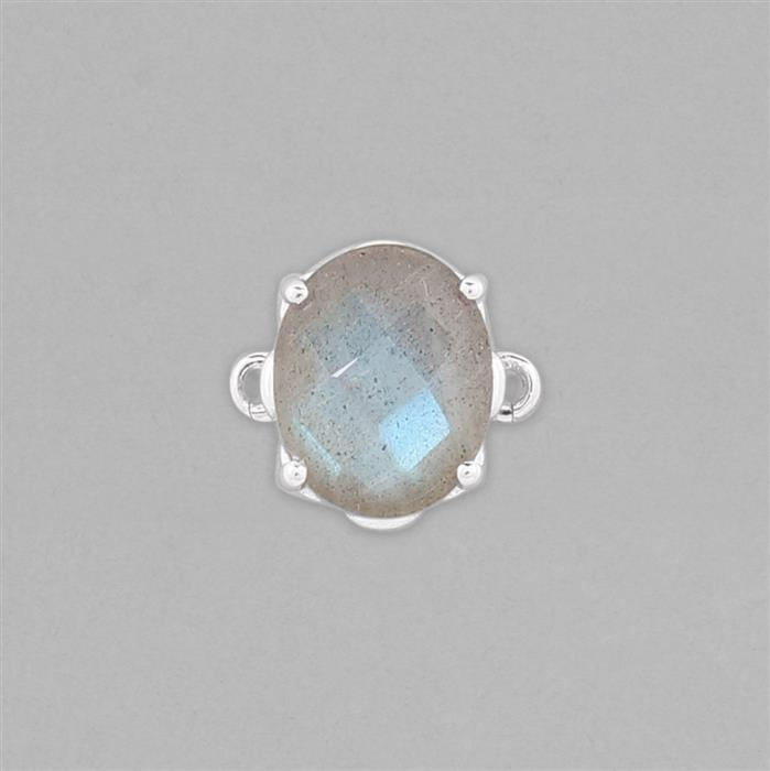 925 Sterling Silver Gemset Connector Approx 13x10mm Inc. 2.40cts Labradorite Checkerboard Cut Oval Approx 10x8mm