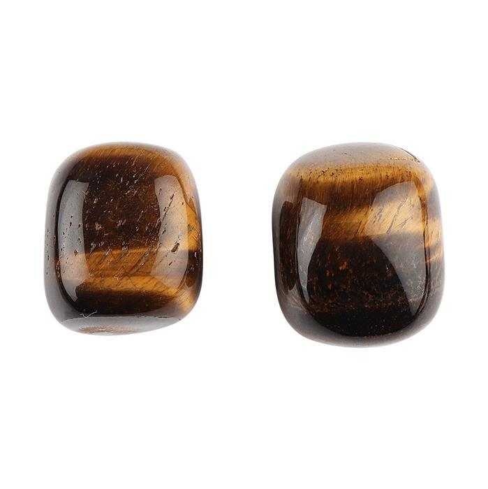 270cts Tiger Eye Plain Tumbles. (Pack of 2)