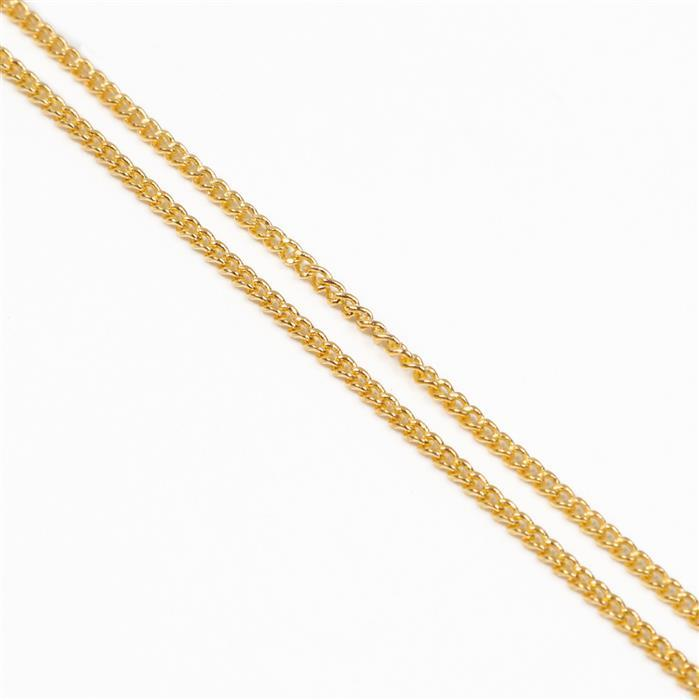 Gold Plated Curb Chain - 1x1.6mm (30