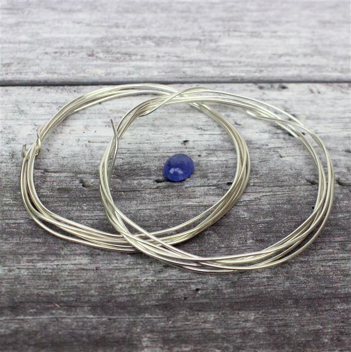 Passion:Amazing 3cts Tanzanite Oval Cabochon 10x8mm & 5m 0.4mm & 1m 1.0mm 925 silver wires