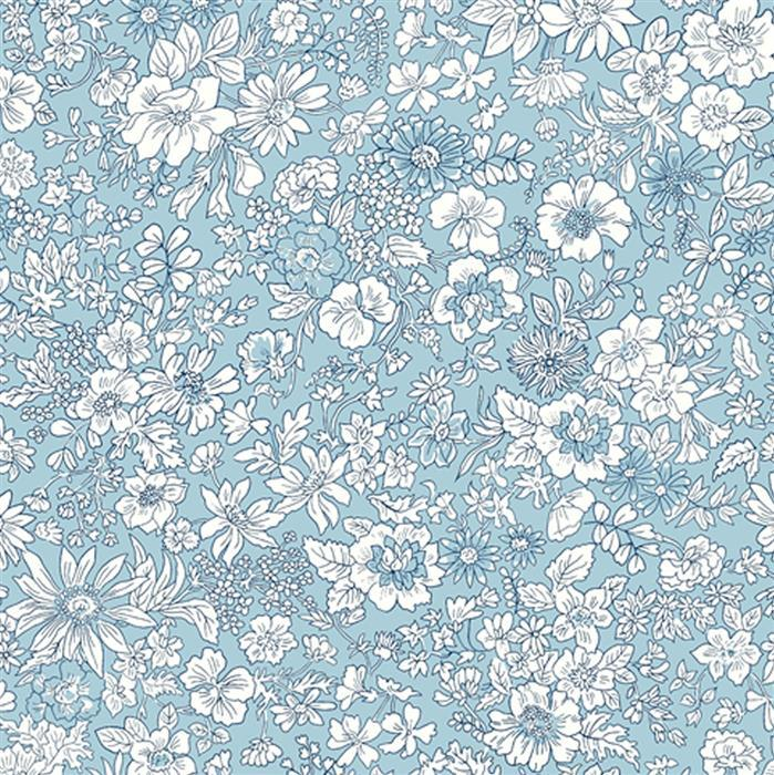 Liberty Emily Silhouette Flower Blue Fabric from Flower Show Spring Range 0.5m