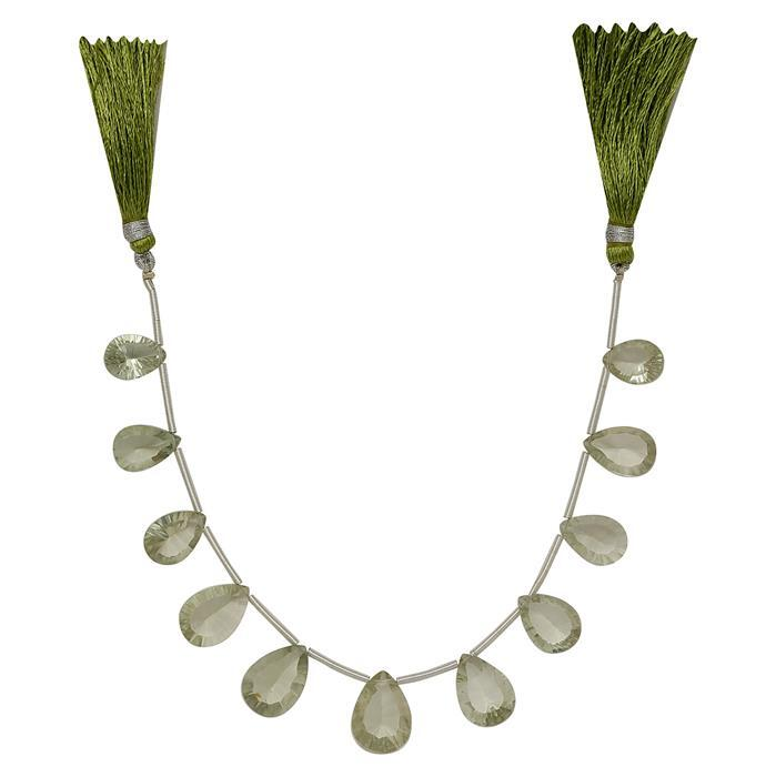 55cts Green Amethyst Graduated Concave Cut Pears Approx From 13x9 to 16x10mm, 15cm Strand.