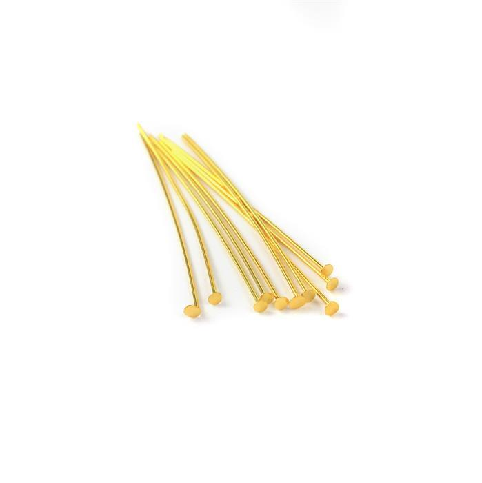 Gold Plated 925 Sterling Silver Headpins - 40mm (0.6mm) - (10pcs/pk)