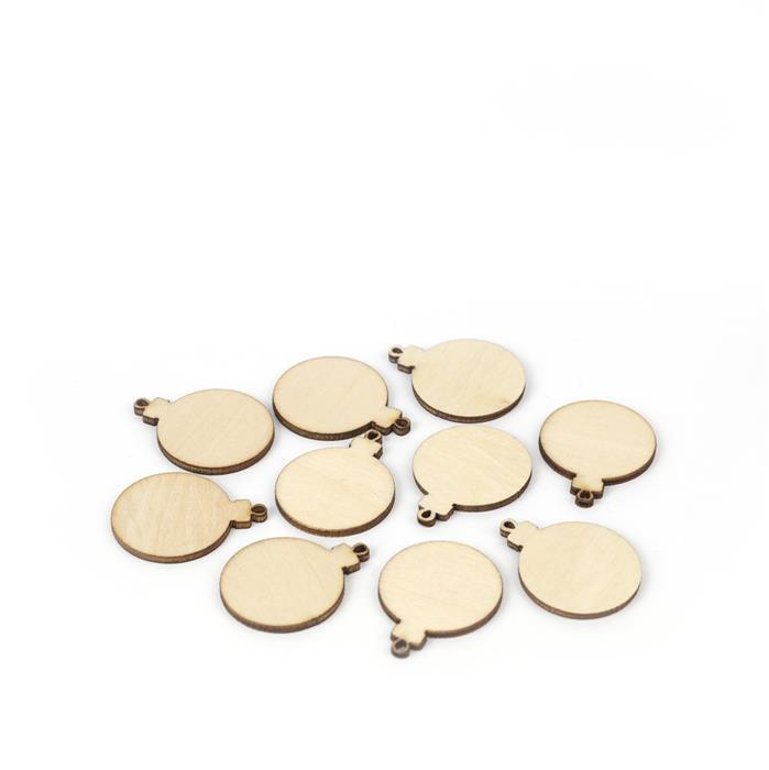 Wooden Bauble Shapes, Approx. 25mm (10pk)