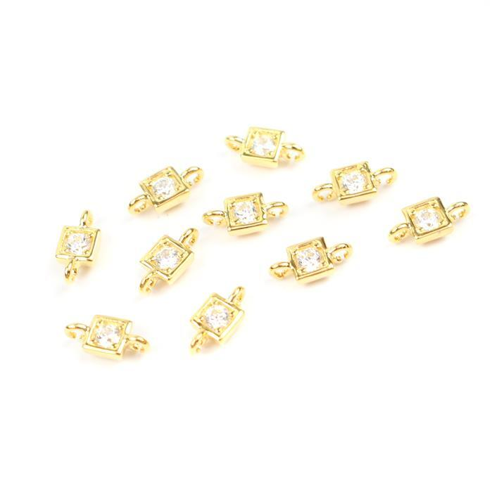 Gold Plated 925 Sterling Silver Cubic Zirconia Square Shape Connectors Approx 4mm,10pcs