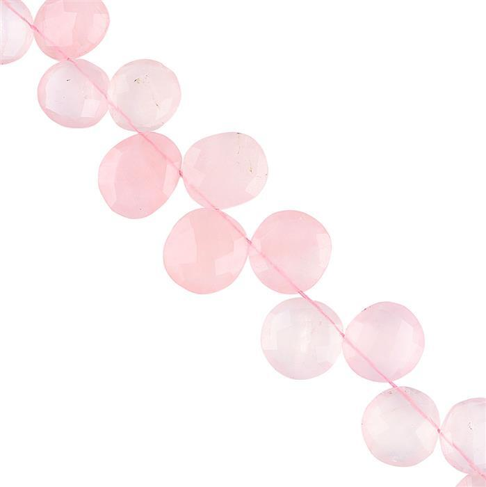 160cts Rose Quartz Graduated Faceted Fancy Shape Approx 12x10 to 16x14mm, 18cm Strand.