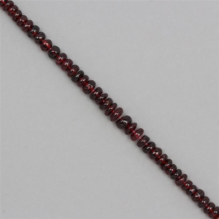 85cts Garnet Graduated Plain Rondelles Approx 3x2 to 6x3mm, 20cm Strand.