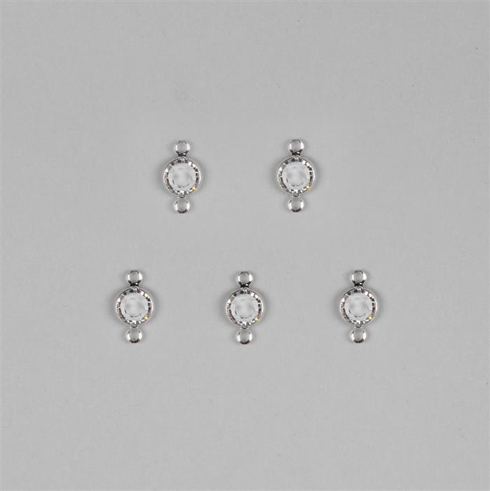 Swarovski Crystals with Channel Setting Rhodium Plated Connectors  - 5pk