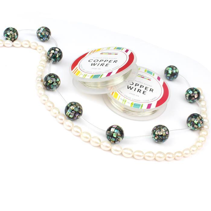 Marvellous Mosaic; Abalone Mosaic Rounds 16mm 10pcs, Cultured Rice Pearls  8-9mm & Wire
