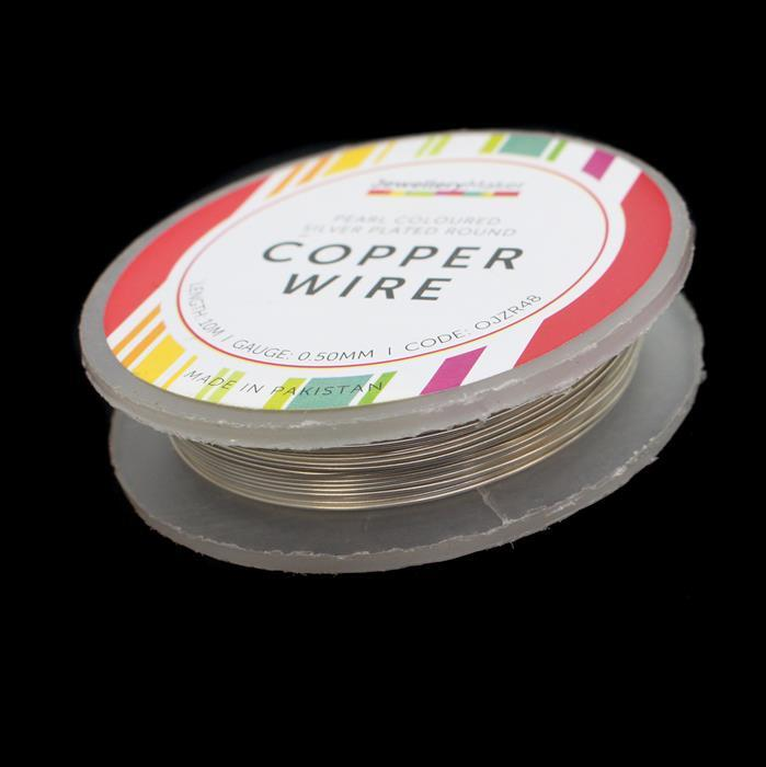 10m Pearl Coloured Silver Plated Copper Wire 0.50mm