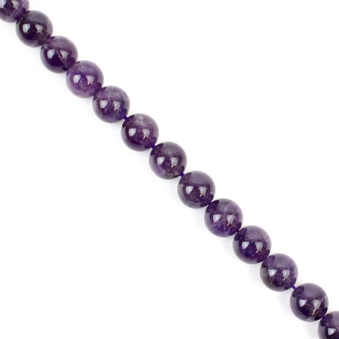 180cts Zambian Amethyst Plain Rounds Approx 10mm 38cm strand