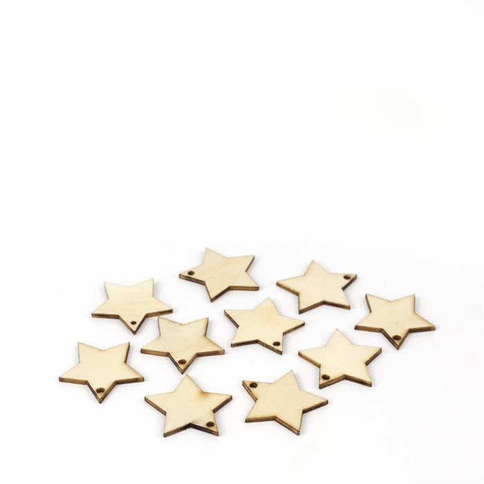 Wooden Star Shapes, Approx. 25mm (10pk)