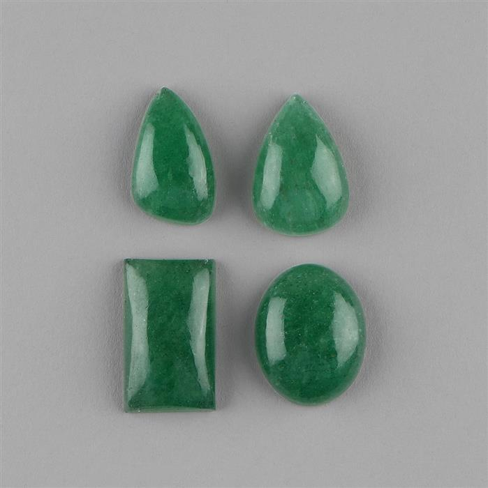 140cts Green Aventurine Multi Shape Cabochons Assortment.