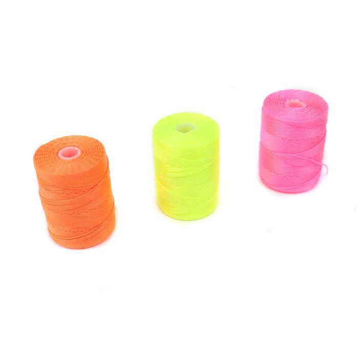 Neon Nylon Inc; 0.4mm Neon Orange, Yellow & Pink.