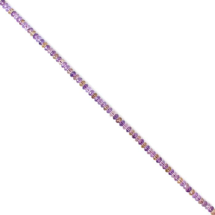 170cts Ametrine Faceted Rondelles Approx 8x5mm 38cm strand