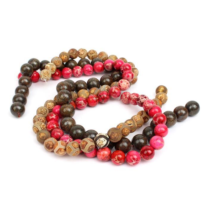 Safari: Kaki Style Agate rounds 8mm & 10mm with Bronzite rounds 12mm
