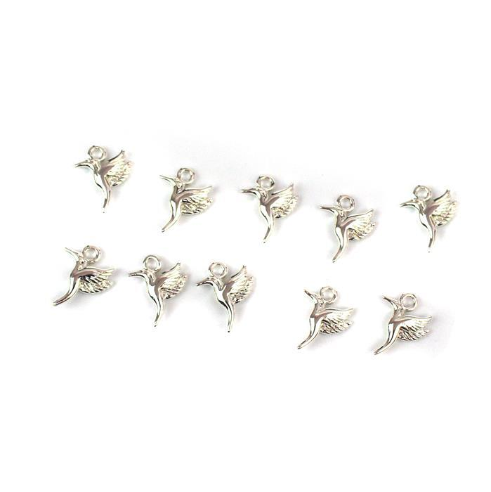 Silver Plated Base Metal Hummingbird Charms, Approx 14x10mm (10pcs)