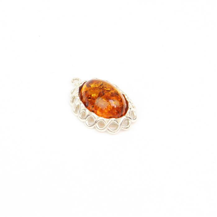 Baltic Cognac Amber Sterling Silver Oval Pendant - 21x15mm