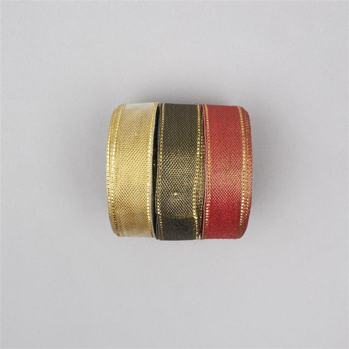 30m Gold, Black & Red Colour Ribbons width approx 18mm (3pcs)