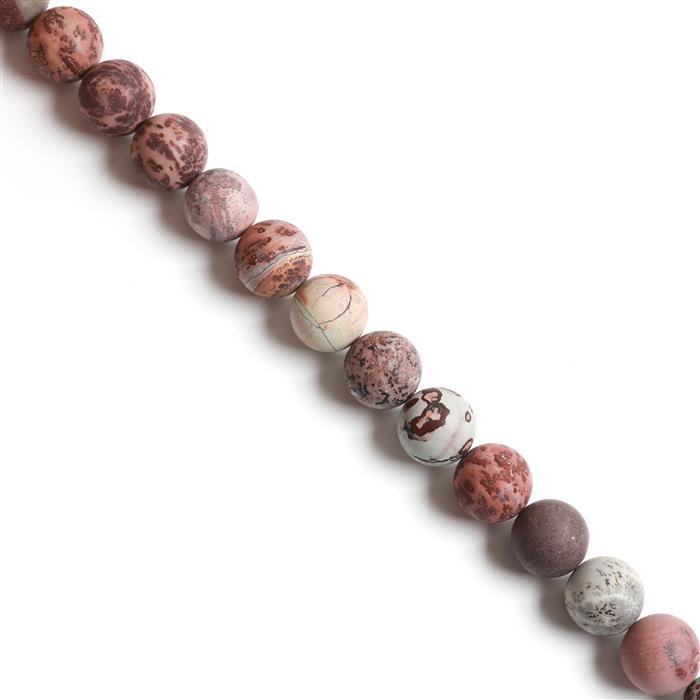 1000cts Brown & Gray Picture  Jasper Frosted Rounds Approx 20mm, 38cm strand