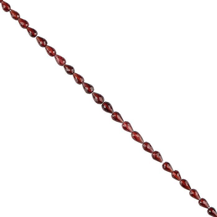 32cts Red Garnet Graduated Faceted Straight Drilled Drops 4x3 to 7x5mm, 18cm Strand.