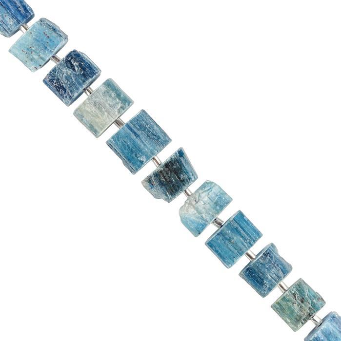 140cts Kyanite Graduated Raw Fancy Shapes Approx 8x9 to 14x9mm, 18cm Strand.