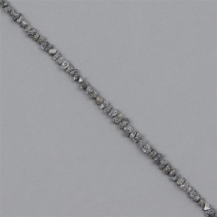 8cts Grey Diamond Graduated Rough Nuggets Approx 1x1 to 3x1mm, 16cm Strand.