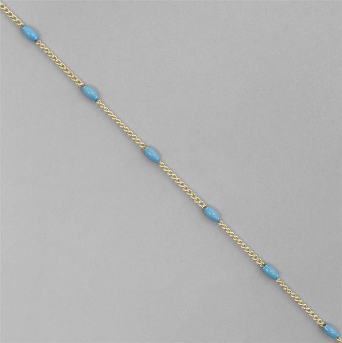 1m Gold Plated Brass Chain with Blue Enamel Drum, 1.5mm Chain & 4x2mm Drum