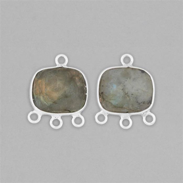 925 Sterling Silver Chandelier Approx 17x13mm Inc. 10cts Labradorite Cushion Briolette Approx 12x10mm (2pcs)