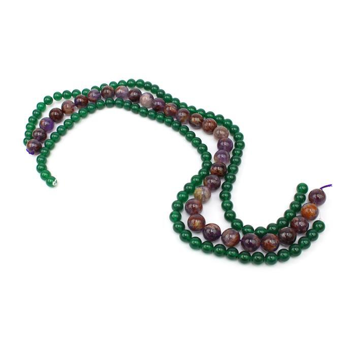 Mala Knotting Inc Green Agate Beads & Multi Colour Amethyst Guru Beads