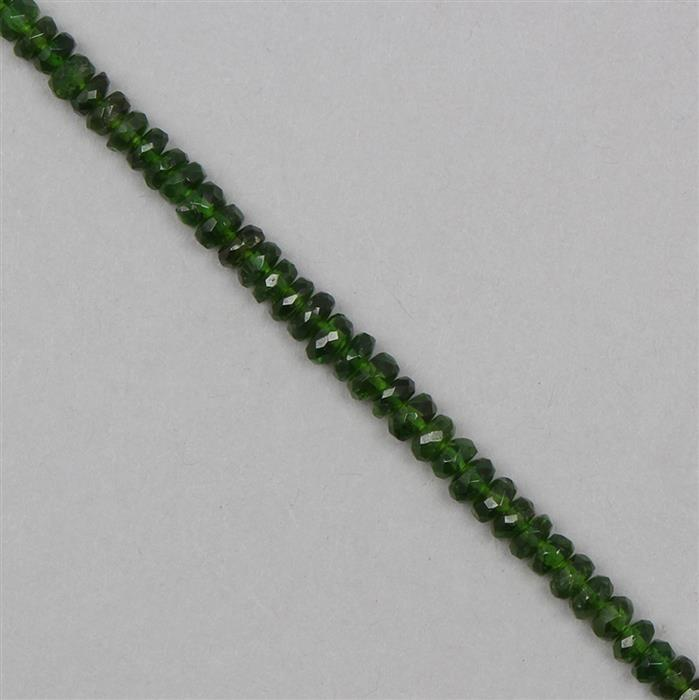 40cts Chrome Diopside Graduated Faceted Rondelles Approx 3x1 to 6x3mm, 19cm Strand.