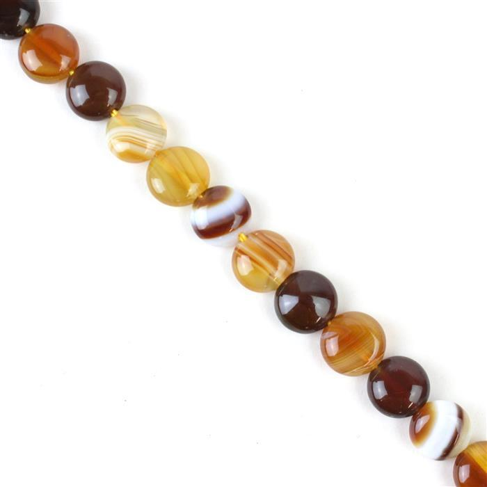 120cts Coffee Stripe Agate Puffy Coins Approx 10mm, 38cm/strand