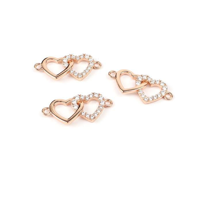 Rose Gold Plated True Love Collection Double Heart Connectors 925 Sterling Silver and Cubic Zirconia 11x20mm 3pk