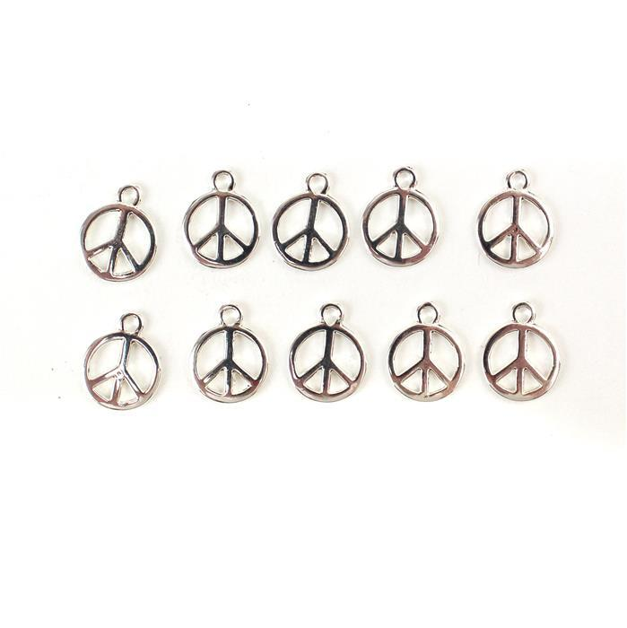 Silver Plated Base Metal Peace Charms, Approx 15X12mm (10pcs)