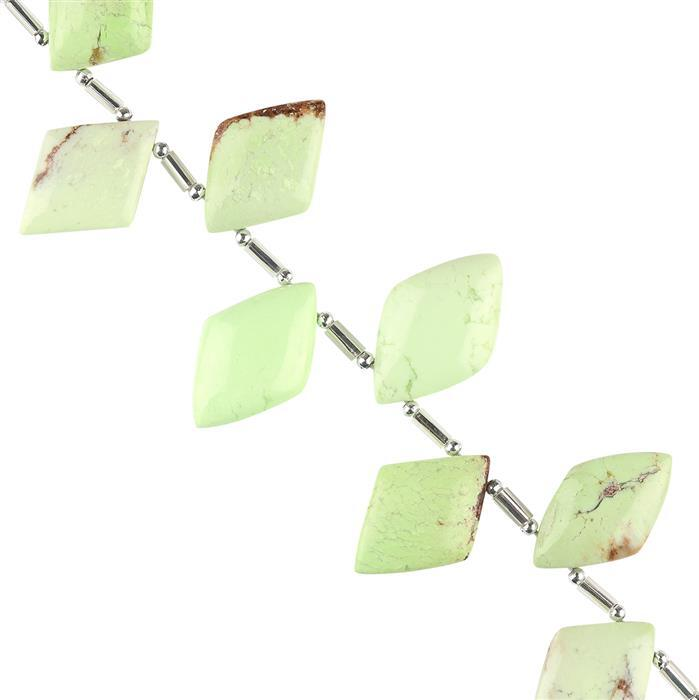 65cts Lemon Chrysoprase Graduated Plain Rhombus Approx 16x9 to 20x12mm, 8cm Strand.